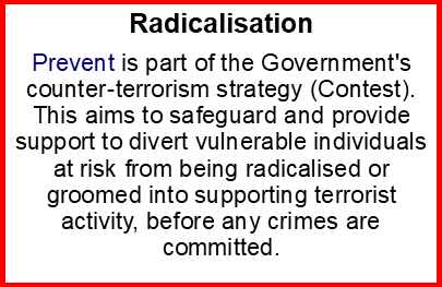 Image giving an explanation of radicalisation - PREVENT progreamme