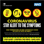 Image of Coronavirus stay alert to the symptoms UK Gov logo